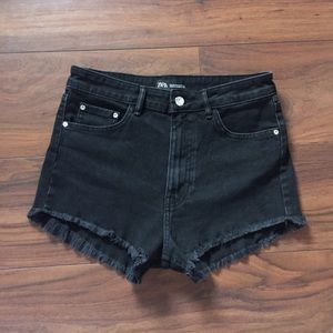 Zara Black High-Waisted Denim Shorts